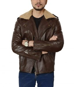 Harry Styles Fur Collar Brown Motorcycle Jacket