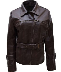 Hayley Atwell Leather Belted Jacket For
