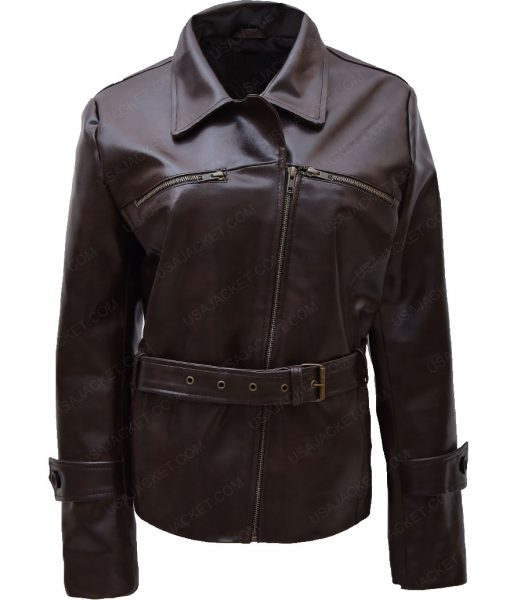 Hayley Atwell Brown Belted Jacket For Womens