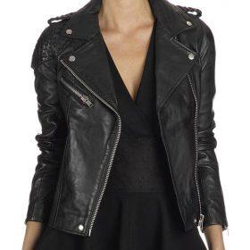 Arrow-Katie-Cassidy-Stitched-Black-Jacket
