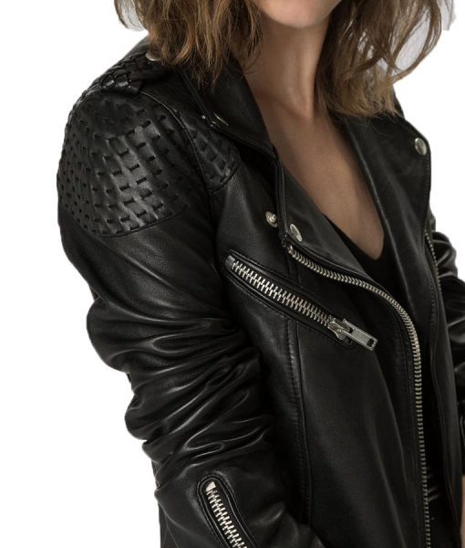 Katie-Cassidy-Black-Stitched-Motorcycle-Jacket
