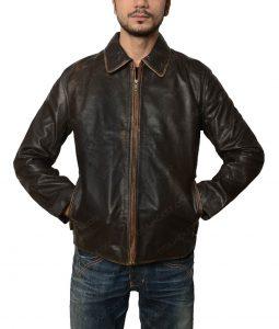 Mens Flight Distressed Vintage Leather Jacket