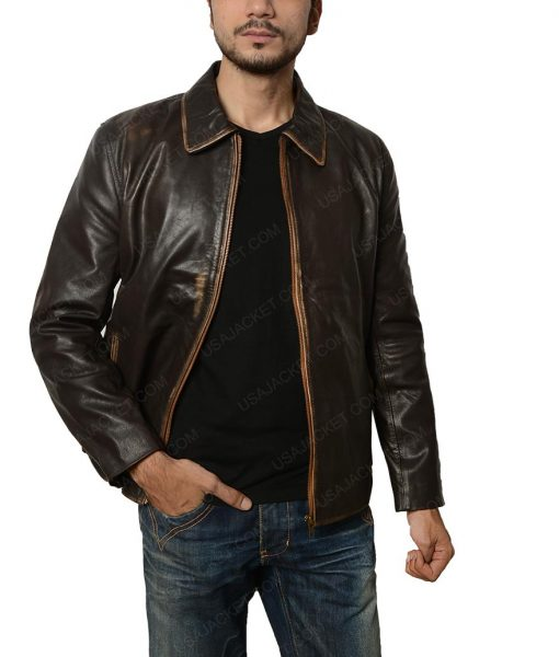 Mens Flight Distressed Brown Leather Jacket