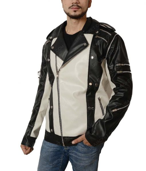 Michael Jackson Black and White Leather Jacket