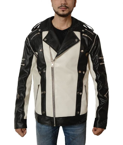 Michael Jackson Black and White Pepsi Leather Jacket