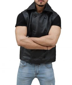 Black Leather Spider-Man Noir Vest