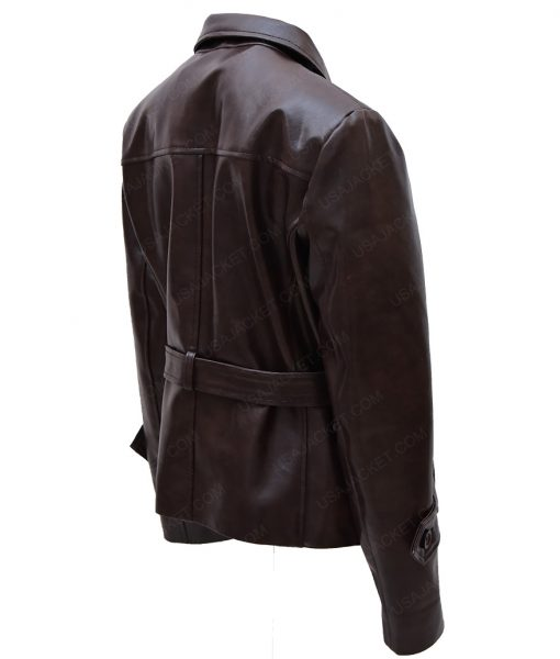 Hayley Atwell Brown Leather Belted Jacket For Womens