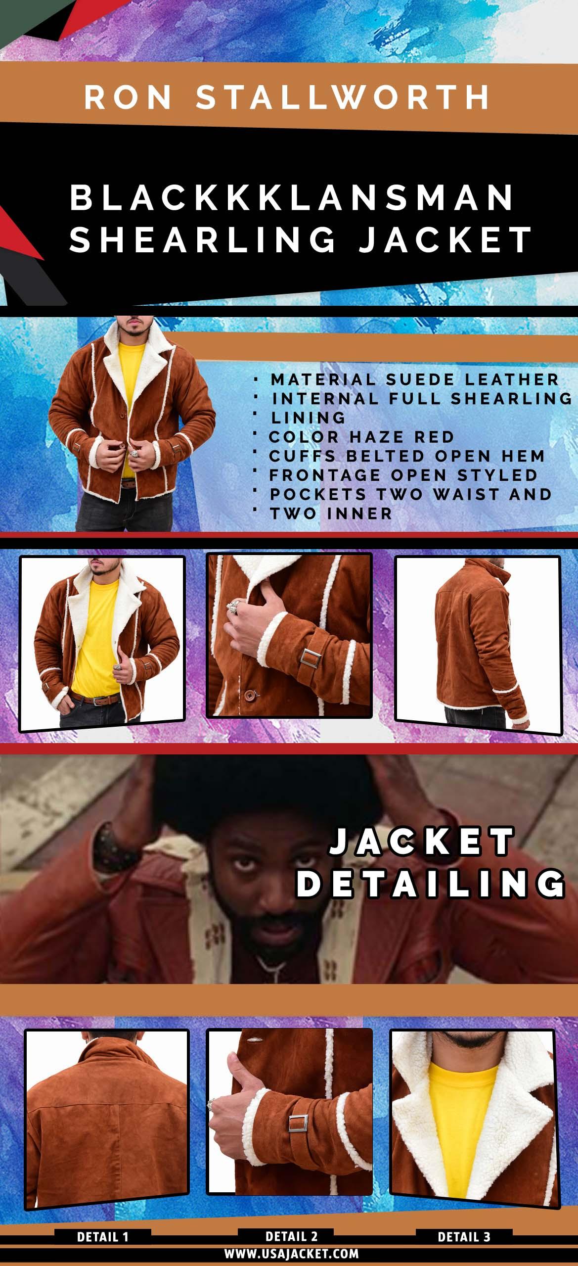 Ron Stallworth BlackKklansman Shearling Jacket Infographi
