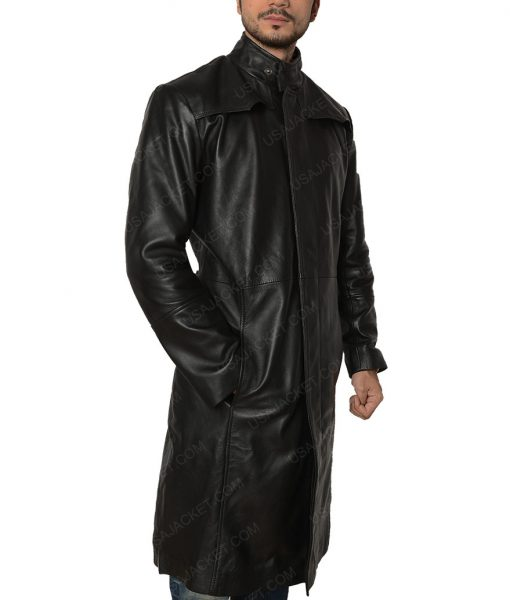 The Matrix Keanu Reeves Neo Slimfit Black Trench Coat