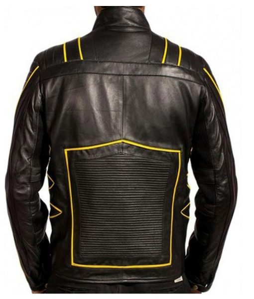 Wolverine Black and Yellow Leather Biker jacket
