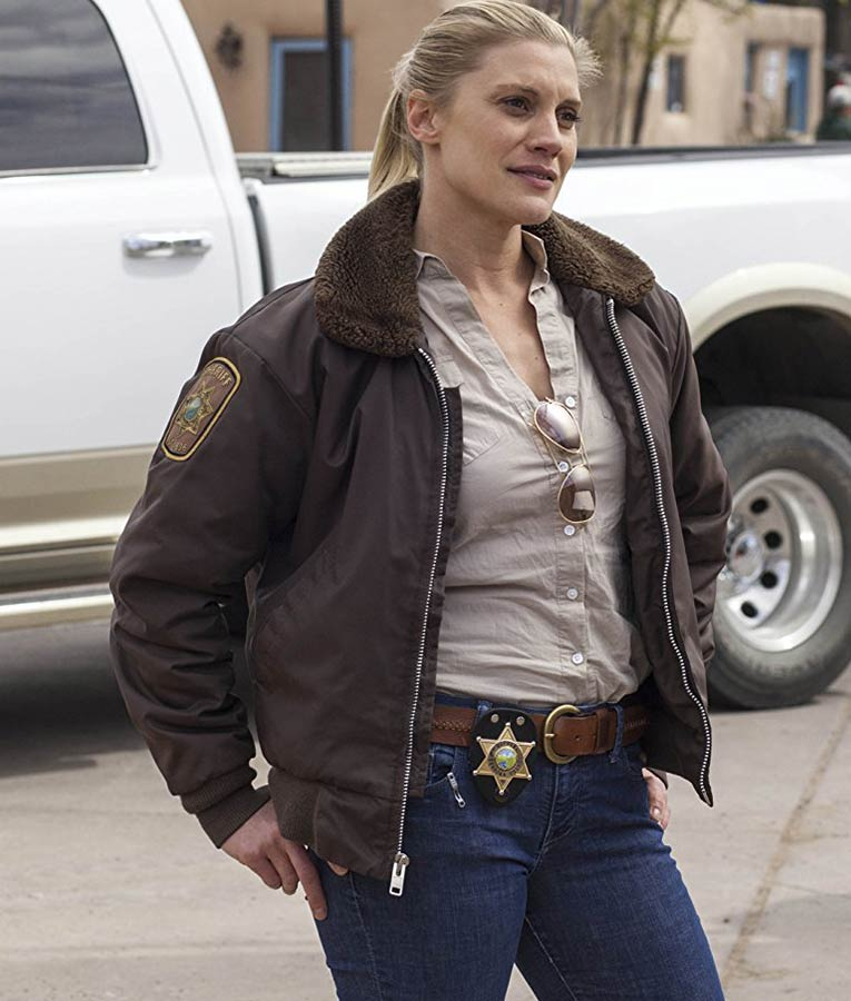 965a3db984f Katee Sackhoff TV-Series Longmire Brown Shearling Bomber Jacket