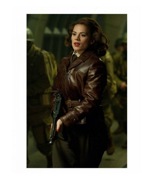 Hayley Atwell leather jacket