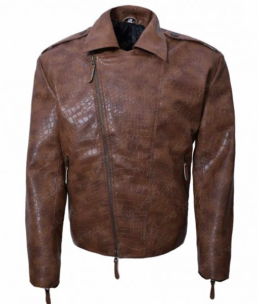 Alligator Brown Biker Jacket