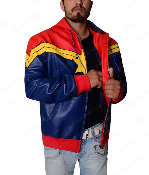 Captain Marvel Red Leather Hoodie