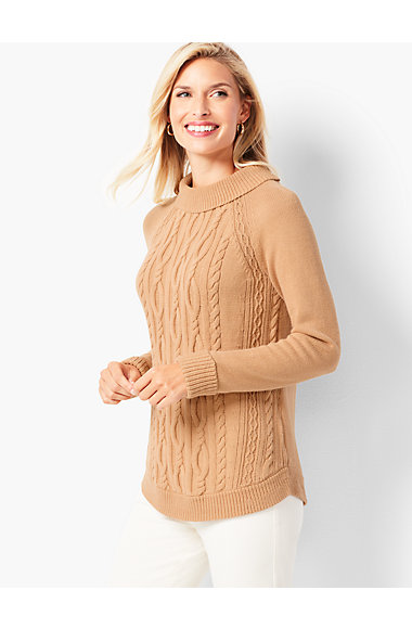 Cotton Cable Portrait-Collar Sweater