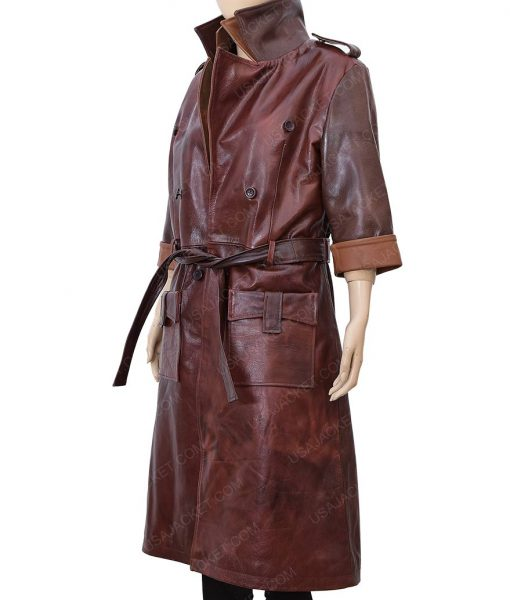 Fallout 4 Piper Belted Brown Leather Trench Coat