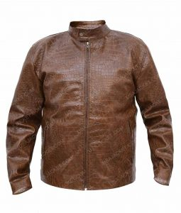 Scott Disick Moto Brown Slimfit Leather Jacket