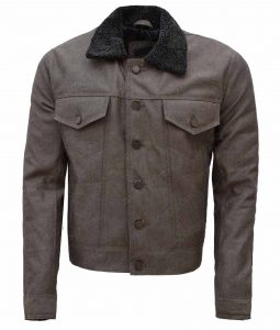 Zac Efron Khaki Slimfit Denim Fur Collar Jacket