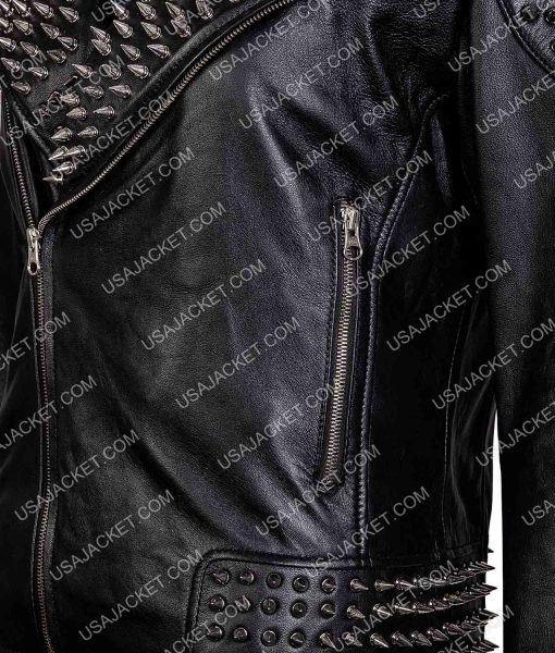 Asymmetrical Silver Spikes Studded Black Jacket