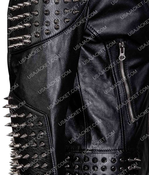 Asymmetrical Silver Spikes Studded Leather Jacket