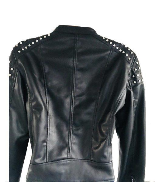 Studded leather black jacket