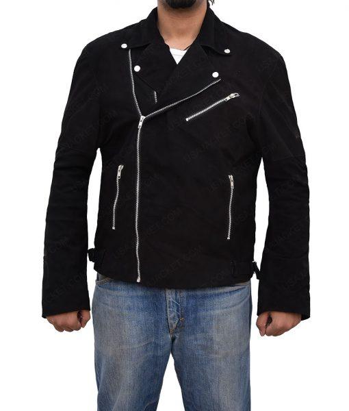 Buddy Baby Driver Jon Hamm Asymmetrical Black Leather Jacket