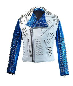 White & Blue Biker jacket
