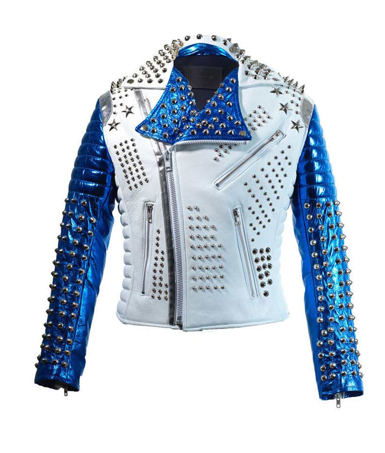 91c454137 Mens Silver Studded White & Blue Biker Jacket