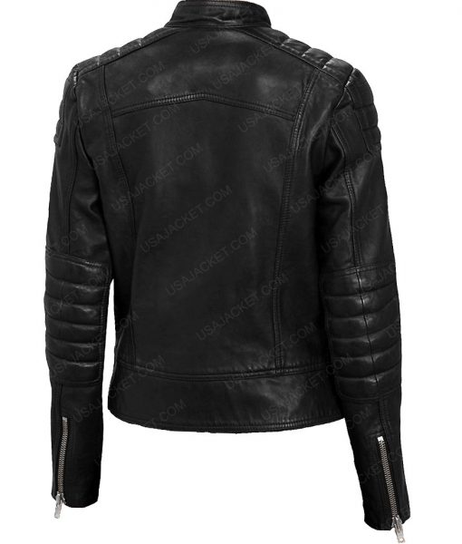 Jenna Coleman Doctor Who Clara Oswald Black Leather Jacket
