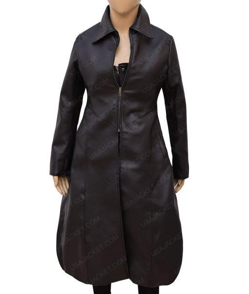Kate Beckinsale Underworld Black Leather Trench Coat