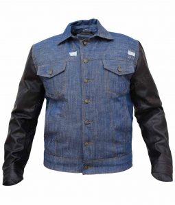 Mens Blue Denim Jacket Leather Sleeves