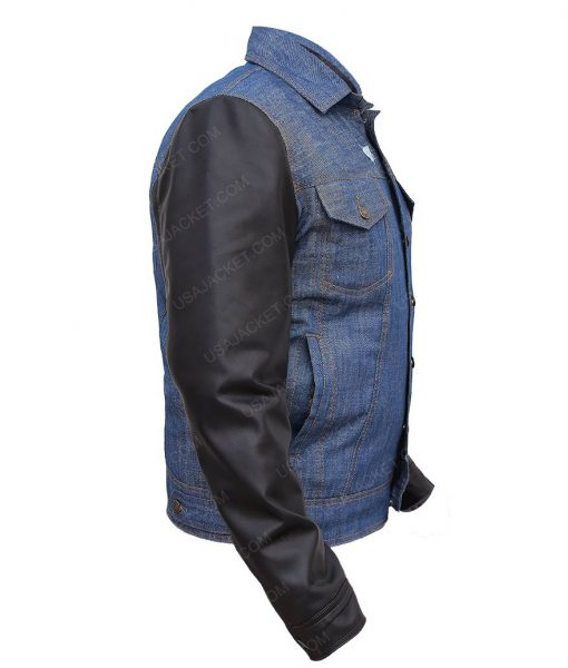 Mens Denim Jacket Faux Leather Sleeves