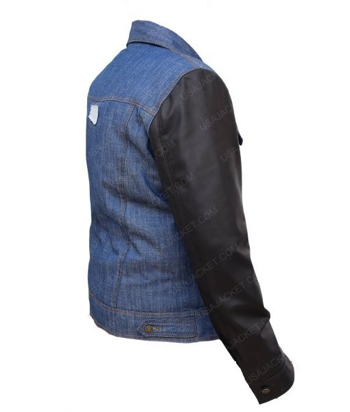 Mens Blue Denim Jacket Faux Leather Sleeves