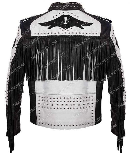 White and Black Fringe Leather Jacket