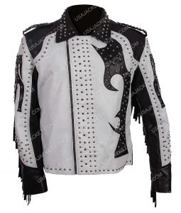 Mens Silver Studded Asymmetrical Jacket
