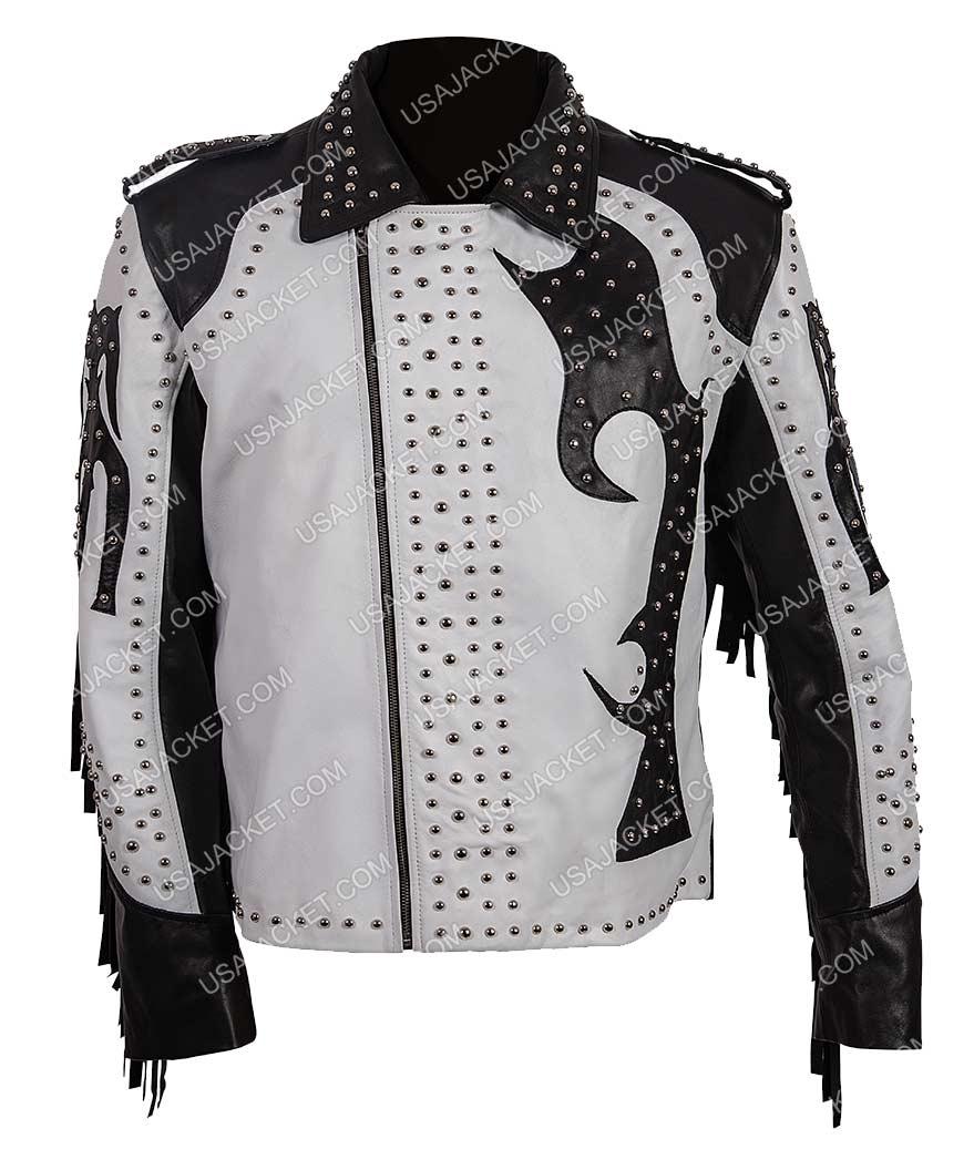 a9edafd03 Silver Studded Asymmetrical Fringe Leather Jacket