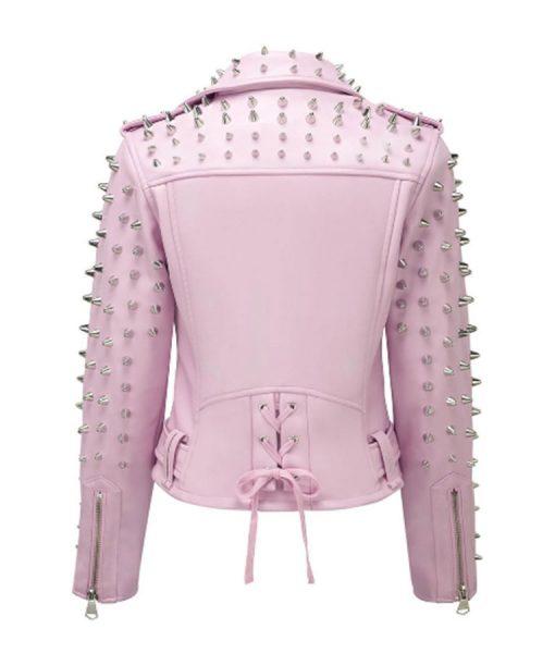 Ladies Pink Studded Jacket