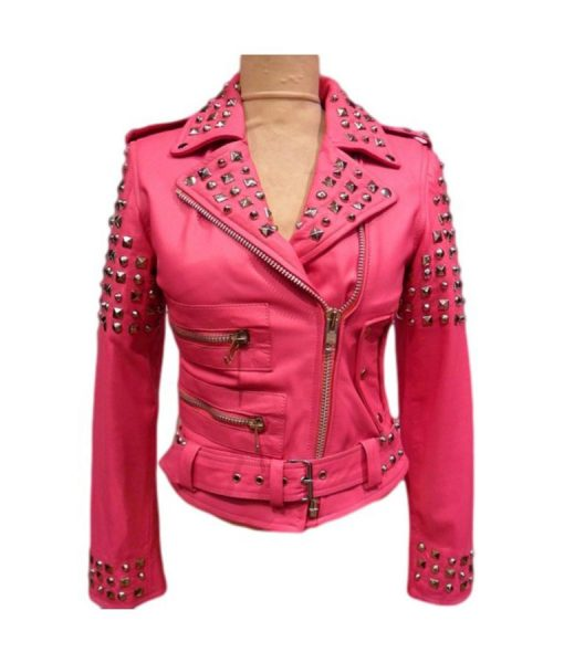 Pink Biker Leather Jacket