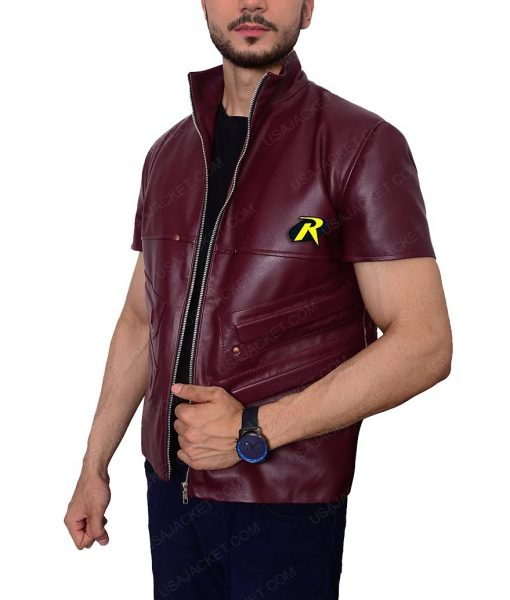 Robin Batman Arkham City Padded Design Leather Vest