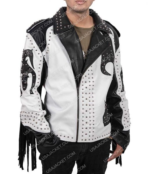 Mens Silver Studded Asymmetrical Leather Jacket