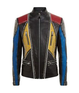 Mens Slimfit Studded Leather Jacket