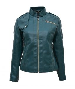 Womens Green Motorcycle Leather Jacket