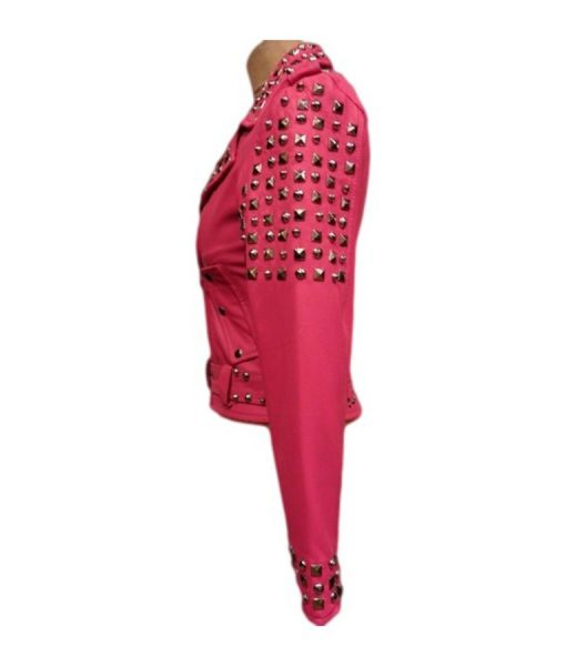 Pink Biker Leather Jacket