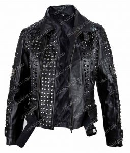 Womens Black Studded Leather Jacket