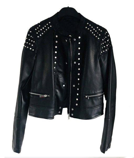 black leather Studded jacket