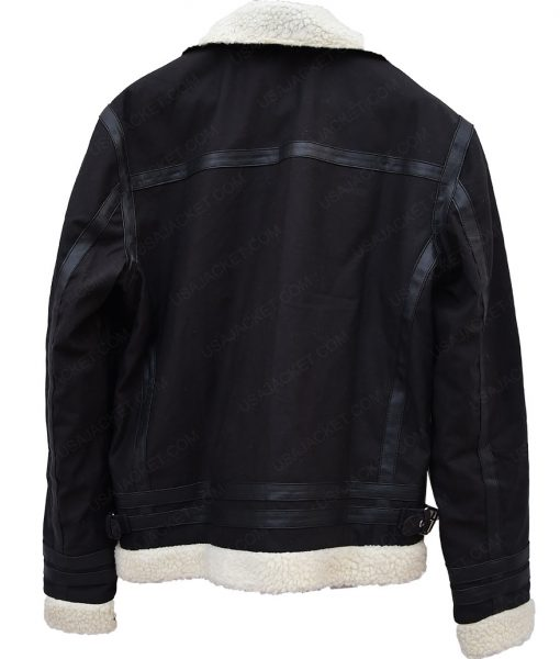Mens Aviator Black Bomber Jacket
