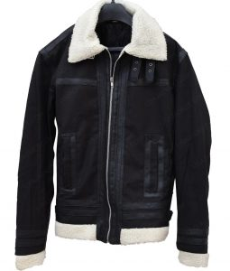Mens Aviator Shearling Collar Black Bomber Jacket