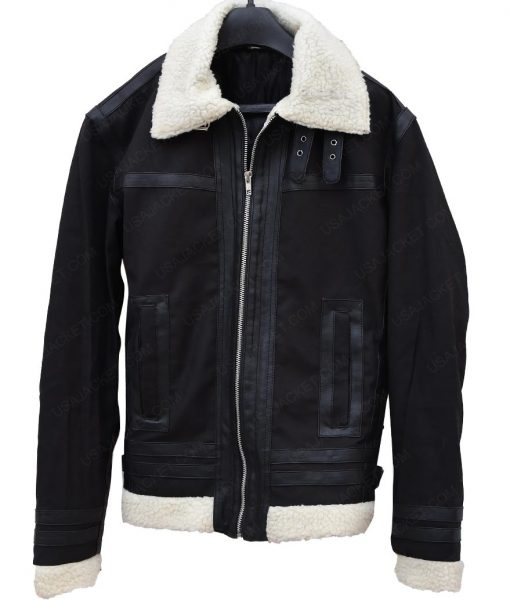 Mens Aviator Shearling Collar Bomber Jacket