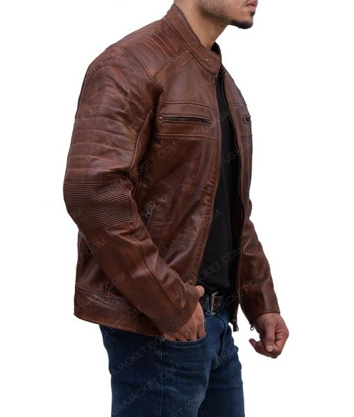 Mens Cafe Racer Leather Padded Shoulder Brown Jacket