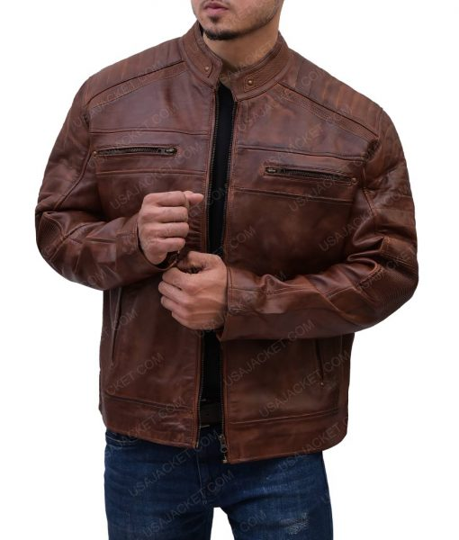 Mens Cafe Racer Leather Padded Shoulder Jacket